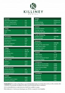 Dental Fee chart